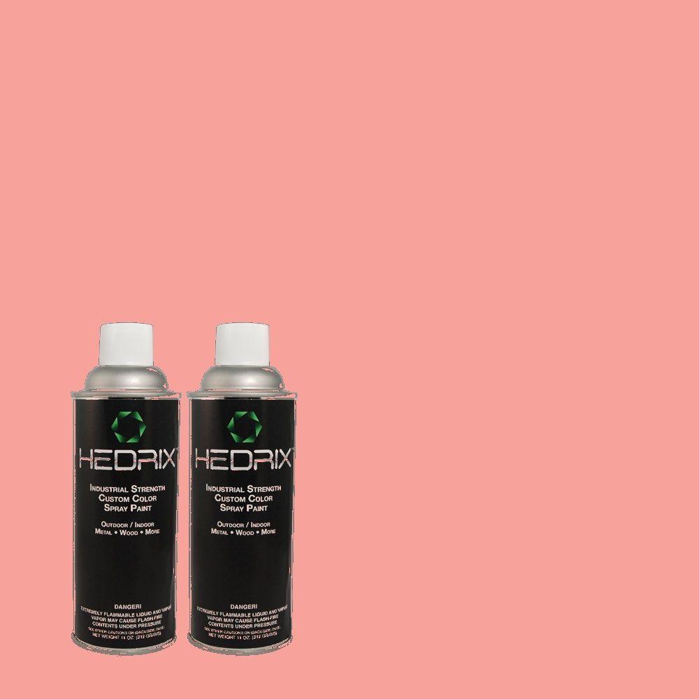 Hedrix 11 oz. Match of 140B-4 Island Coral Flat Custom Spray Paint (2-Pack)