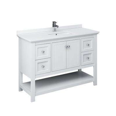 Manchester 48 in. W Bathroom Vanity in White with Ceramic Vanity Top in White with White Basin