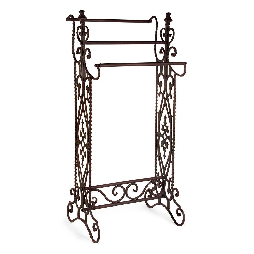 3-Bar Type No Install Brown Metal Quilt Rack