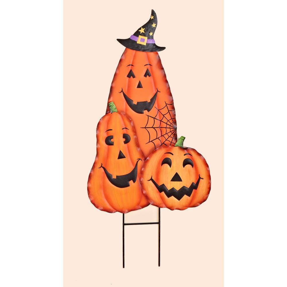 metal halloween figure stake pumpkin