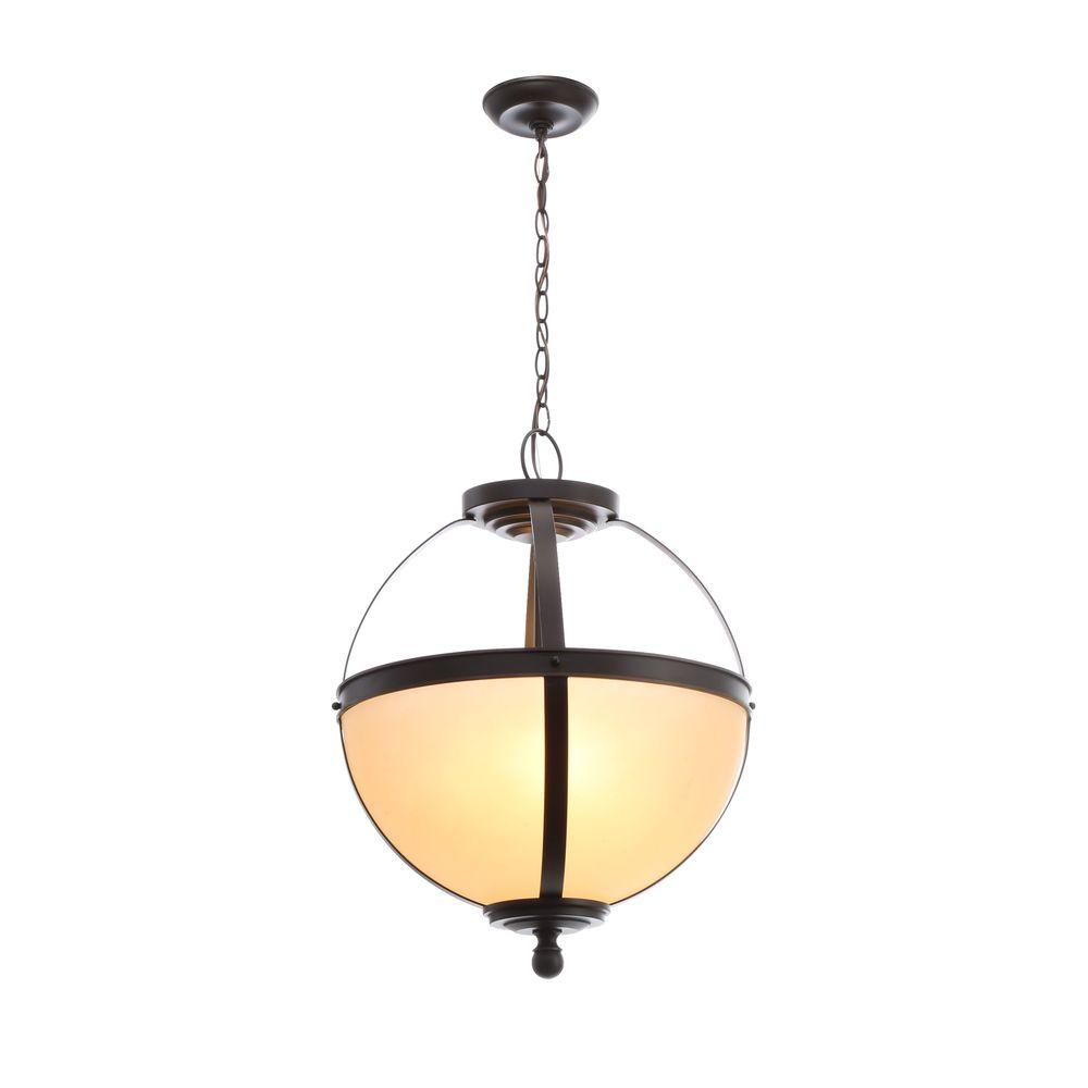 Sea Gull Lighting Sfera 3-Light Autumn Bronze Pendant with Cafe Tint Glass