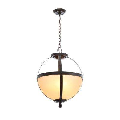 Sfera 18.5 in. W. 3-Light Autumn Bronze Pendant with Cafe Tint Glass