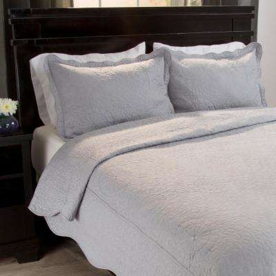 Vera Embroidered Platinum Polyester Full/Queen Quilt