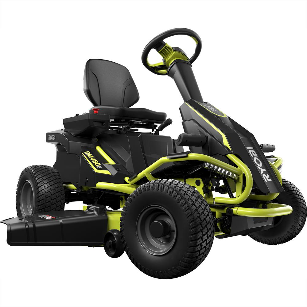 Ryobi 38 in battery electric riding lawn mower ry48110 for Depot moers
