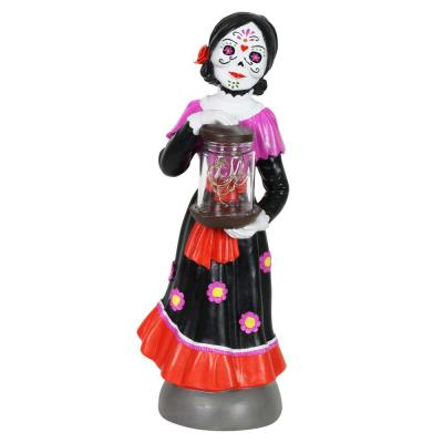 Day of the Dead Woman with LED Sparkle Jar Garden Statue
