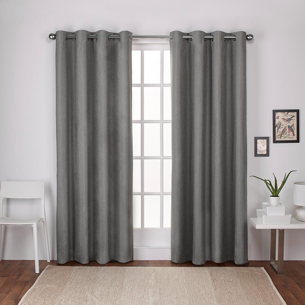 London Black Pearl Textured Linen Thermal Grommet Top Window Curtain