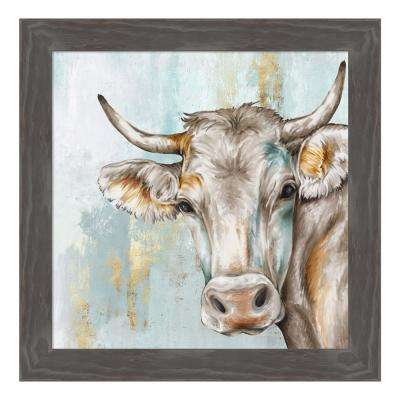 """Headstrong Cow"" by Eva Watts Framed Canvas Wall Art"