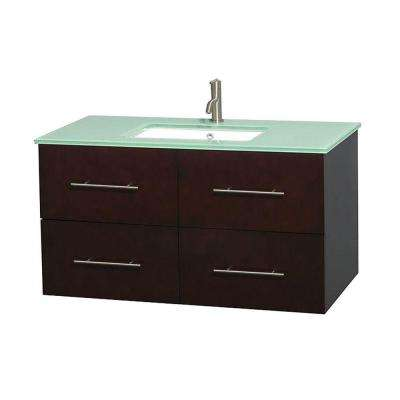 Centra 42 in. Vanity in Espresso with Glass Vanity Top in Green and Undermount Sink