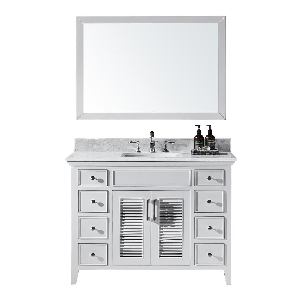 Exclusive Heritage Elise 48 in. W x 22 in. D x 34.21 in. H Bath Vanity in White With White Marble Top With White Basin and Mirror