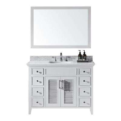 Elise 48 in. W x 22 in. D x 34.21 in. H Bath Vanity in White With White Marble Top With White Basin and Mirror