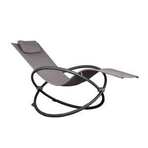 Orbital Charcoal Steel Frame Outdoor Acrylic Mesh Lounge Chair in Sienna