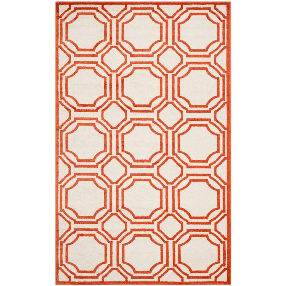 Safavieh Amherst Ivory/Orange 5 ft. x 8 ft. Indoor/Outdoor Area Rug