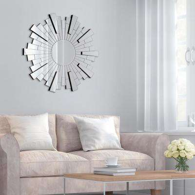 Starburst Round Silver Decorative Mirror
