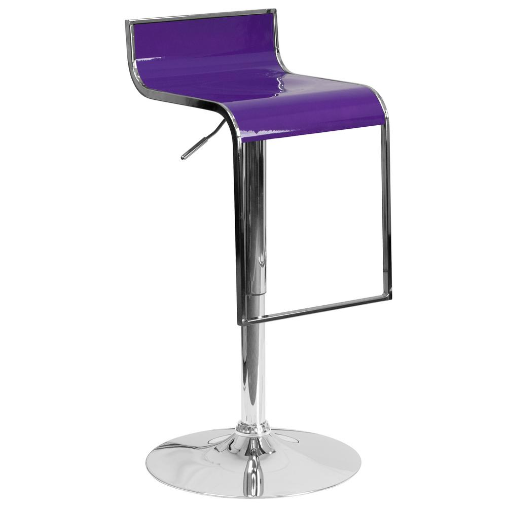 Flash Furniture Adjustable Height Purple Bar Stool