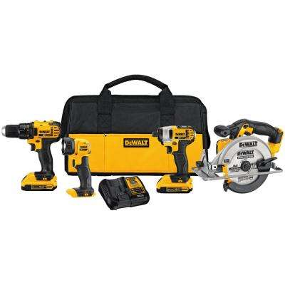 20-Volt MAX Lithium-Ion Cordless Drill/Driver Combo Kit (4-Tool) with (2) 20-Volt Batteries 2.0Ah, Charger and Tool Bag