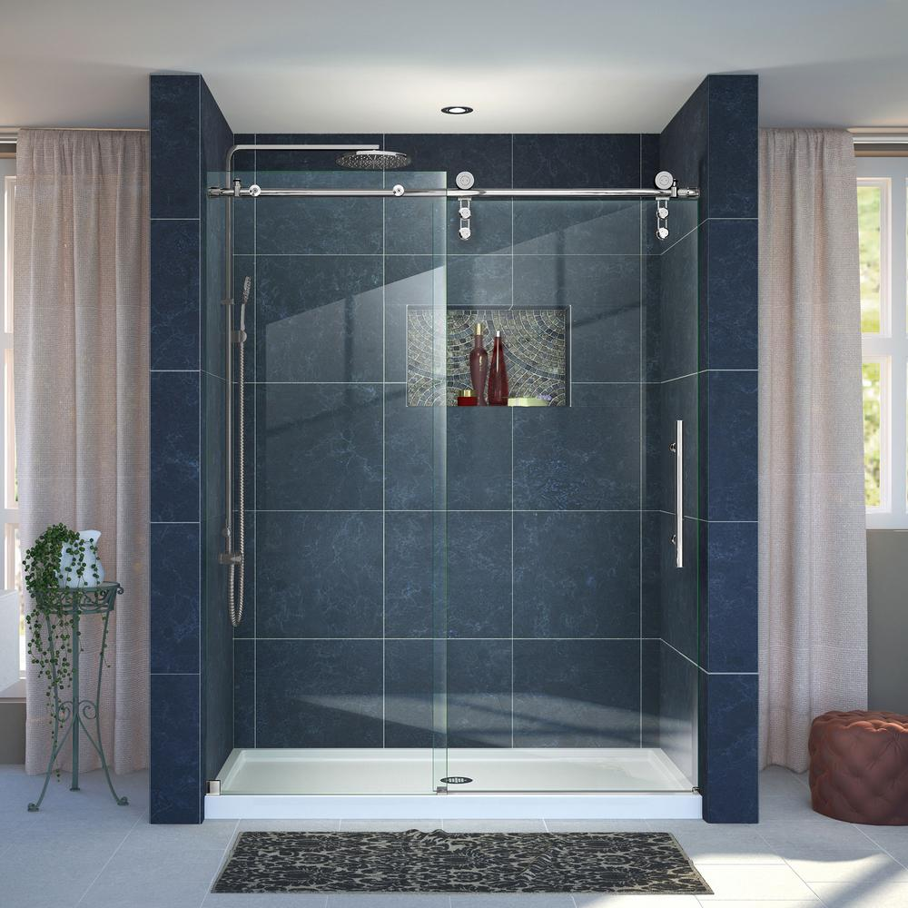 DreamLine Enigma-Z 34 in. x 60 in. x 78.75 in. Frameless Sliding Shower Door in Polished Stainless Steel and Center Drain Base