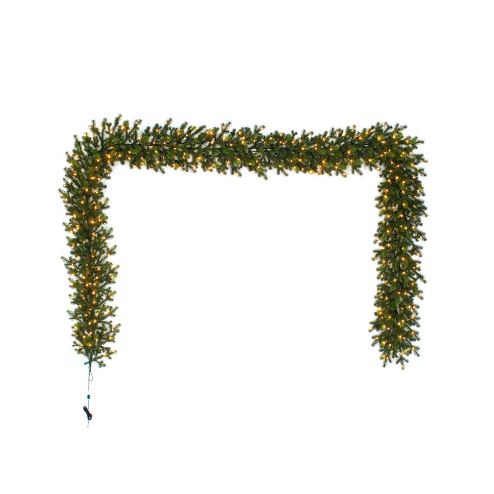 Home Accents Holiday 12 ft. Pre-Lit LED Elegant Natural Fir Artificial Garland with 300 Warm White Micro Dot Lights