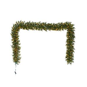 12 ft. Pre-Lit LED Elegant Natural Fir Artificial Garland with 300 Warm White Micro Dot Lights