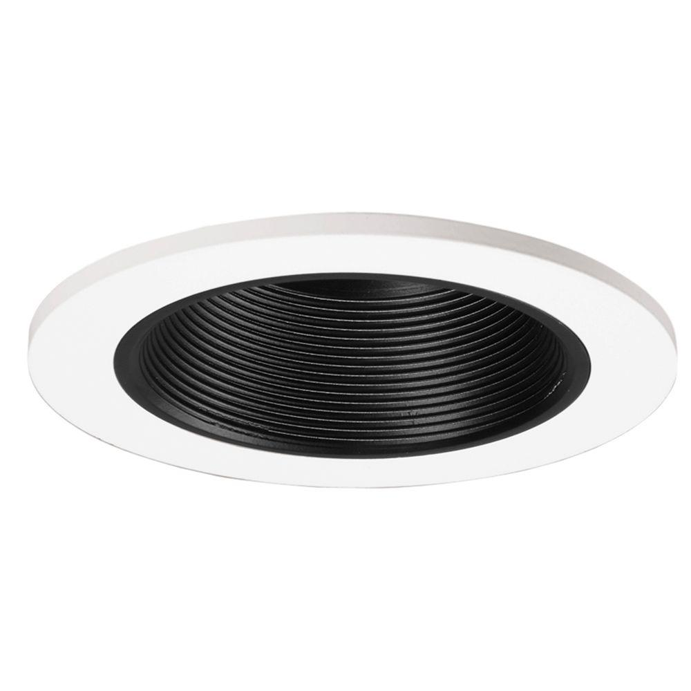 3 in. Black Recessed Ceiling Light Baffle and White Trim