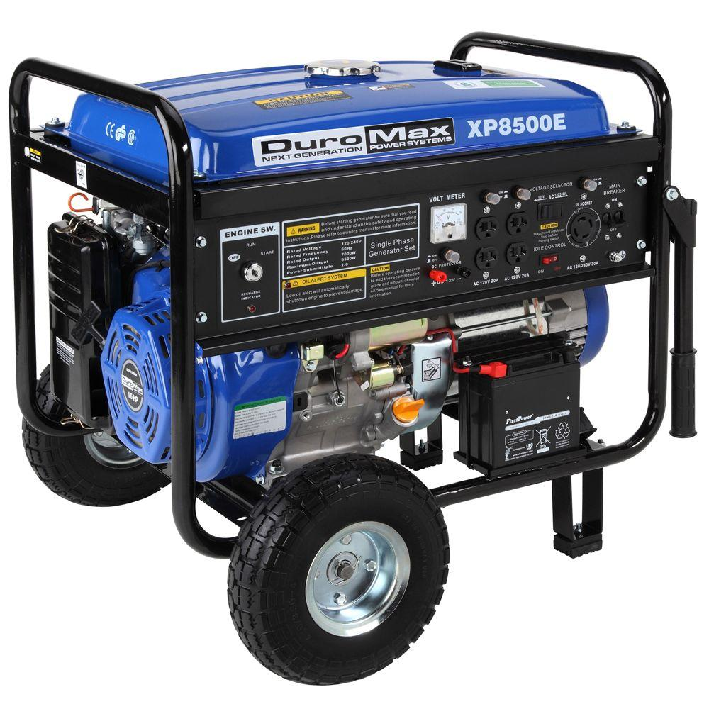 Duromax 8,500-Watt Gasoline Powered Electric Start Portable Generator with Wheel Kit