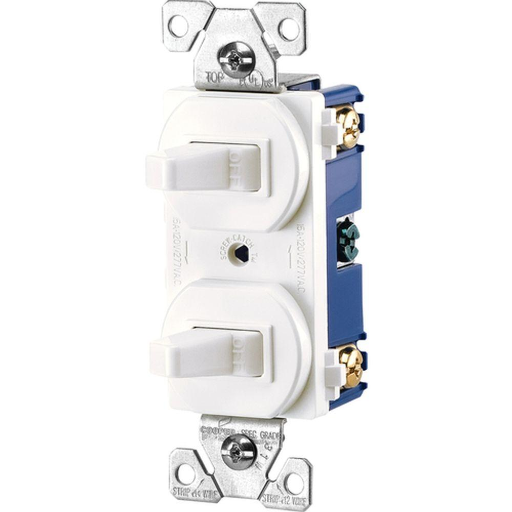 eaton commercial grade 15 amp single pole 2 toggle switches withcommercial grade 15 amp single pole 2 toggle switches with back and side wiring, white