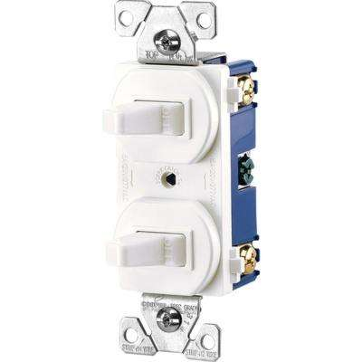 Commercial Grade 15 Amp Single Pole 2 Toggle Switches with Back and Side Wiring in White
