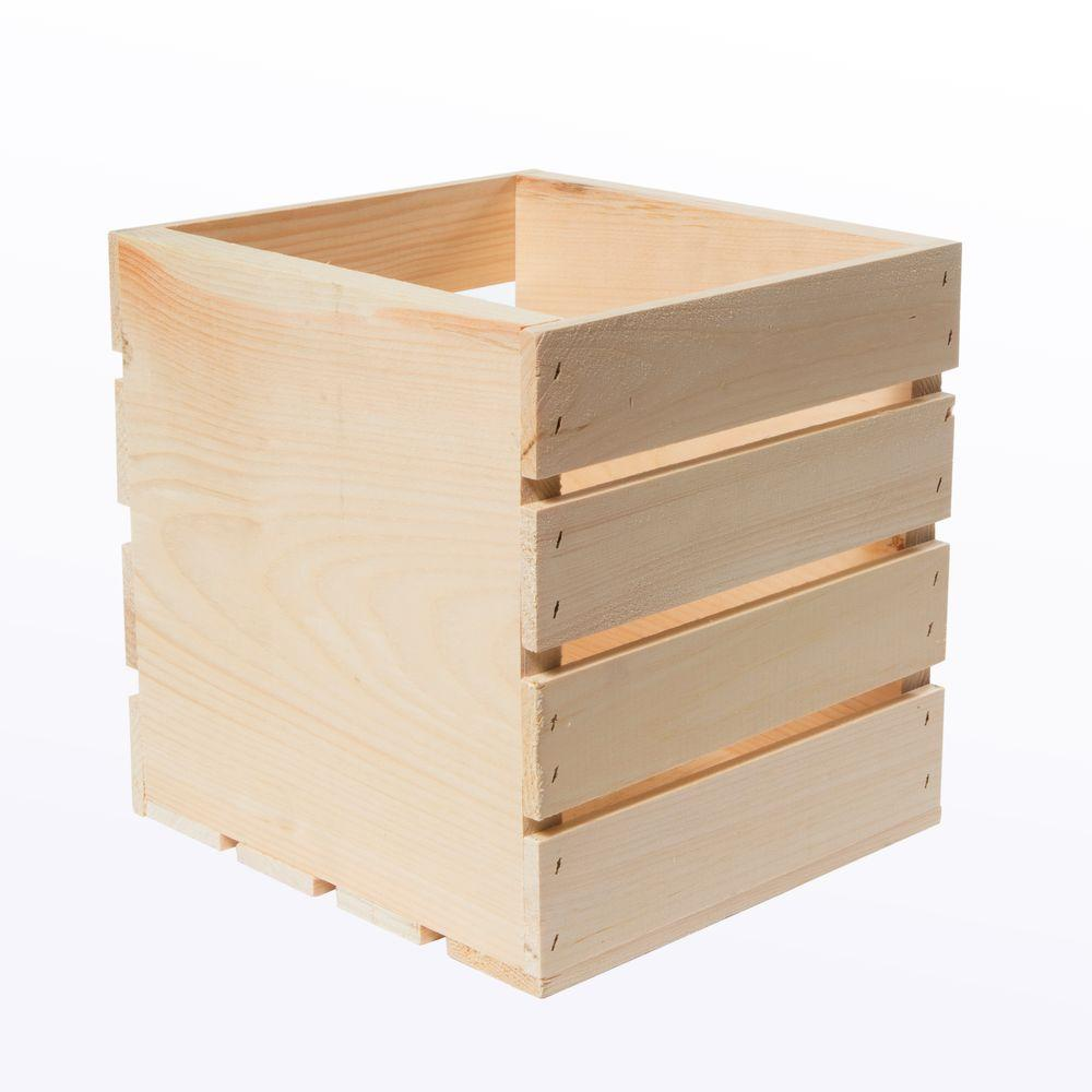9.5 in. x 9 in. x 9.5 in. Square Wood Crate (4-Pack), Unf...