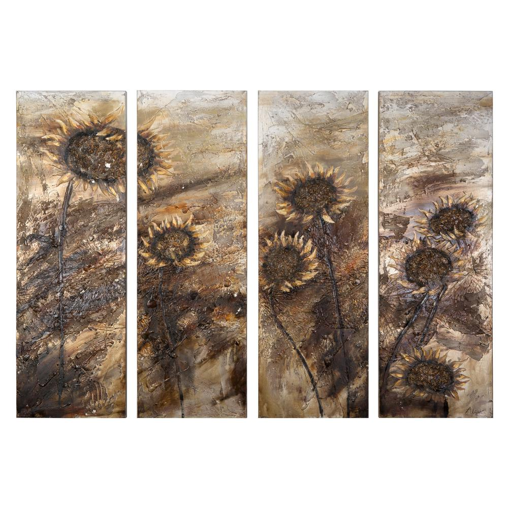 "Yosemite Home Decor 59 in. x 78 in. ""Sunflowers"" Hand ..."