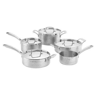 Hammered Collection 9-Piece Tri-Ply Stainless Set