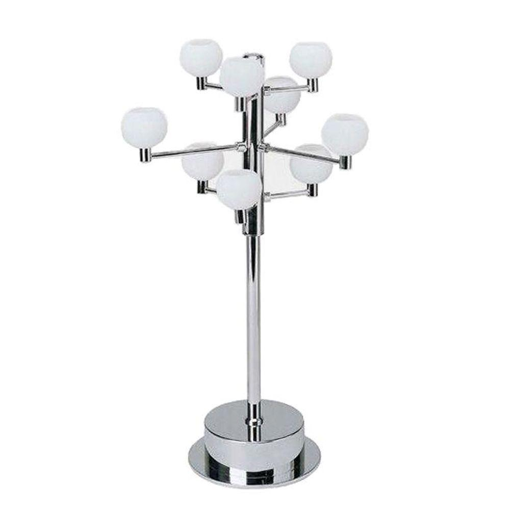 Designer Collection 20 in. Chrome Table Lamp with Frost Glass Shade
