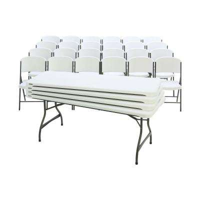 28-Piece White Outdoor Safe Stackable Folding Table Set