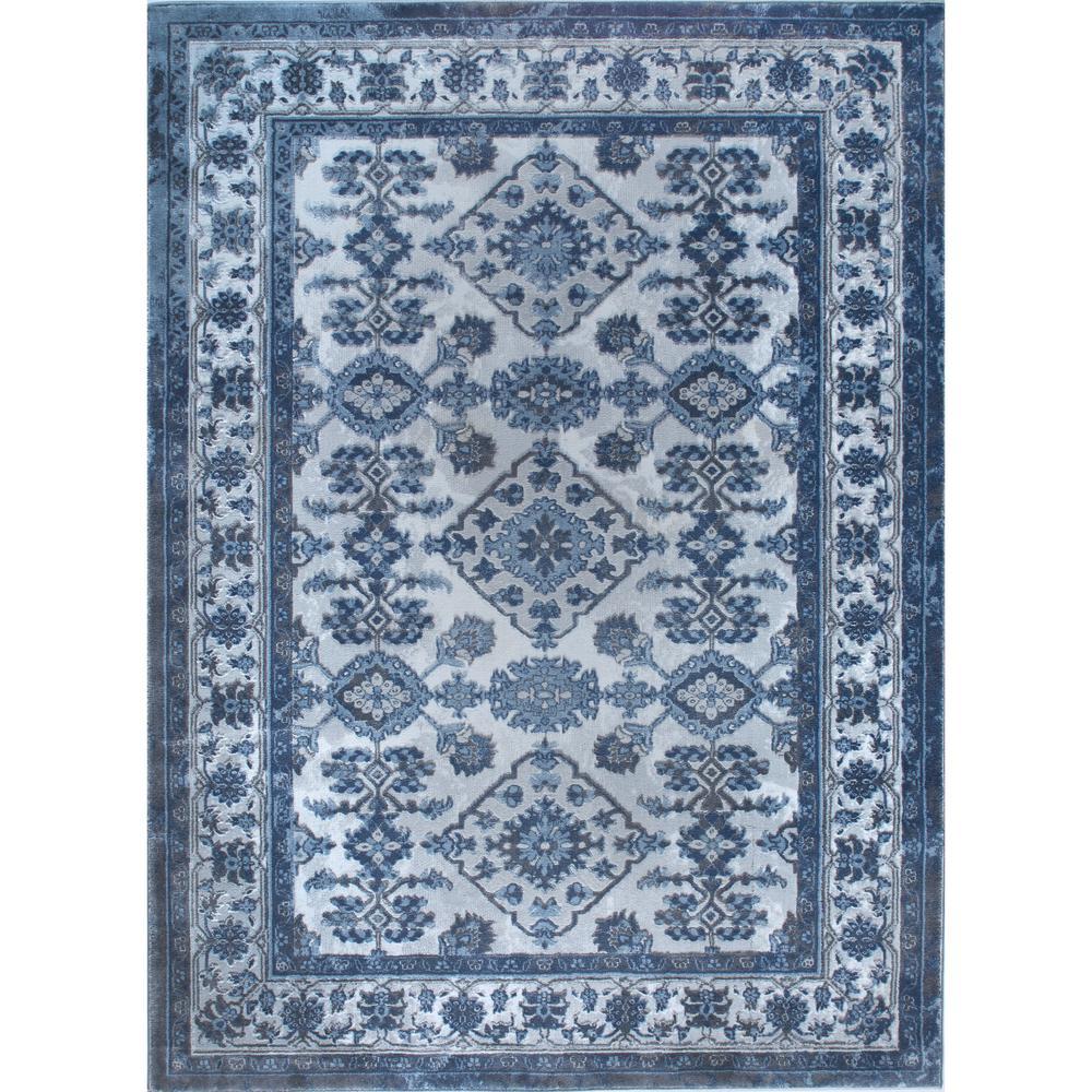 Bazaar Elegance Gray Blue 8 Ft X 10