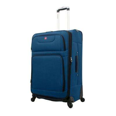 28 in. Blue and Black Spinner Suitcase