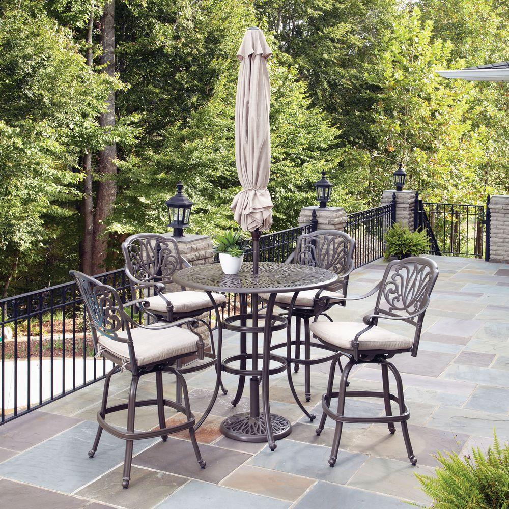 Home Styles Taupe 5-Piece Patio Bistro Set with Umbrella