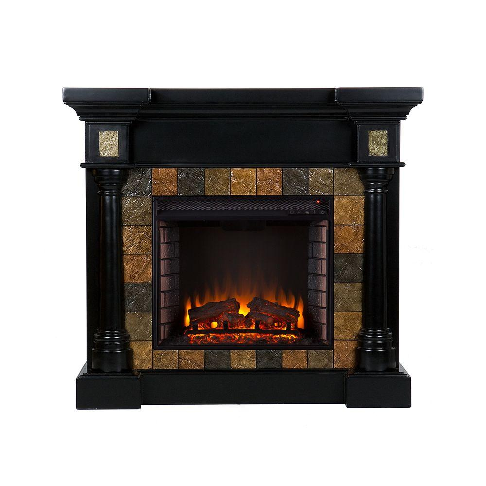 Southern Enterprises Abir 44.5 in. Convertible Electric Fireplace in Black with Faux Slate