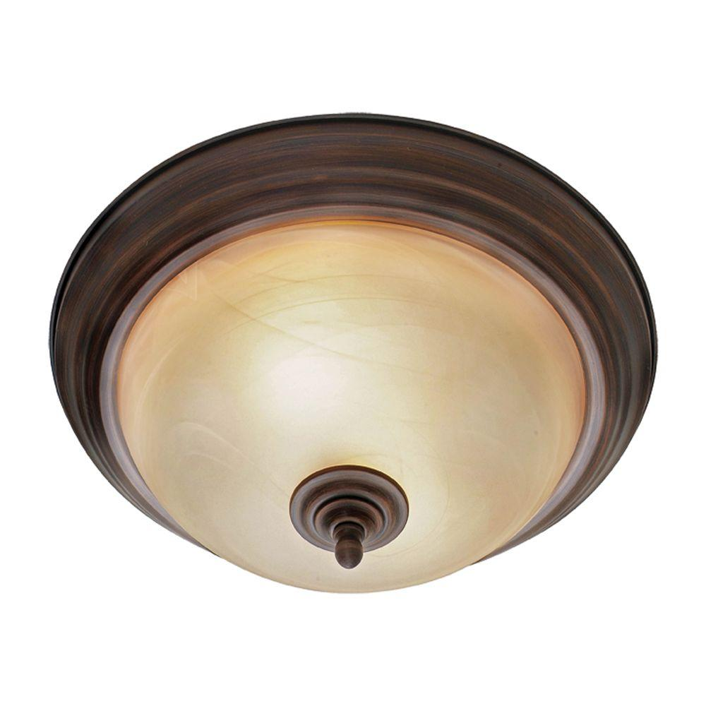 Lancaster Collection 2-Light Rubbed Bronze Flushmount