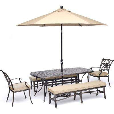 Traditions 5 Piece Aluminum Outdoor Dining Set With Tan Cushions And 2  Benches