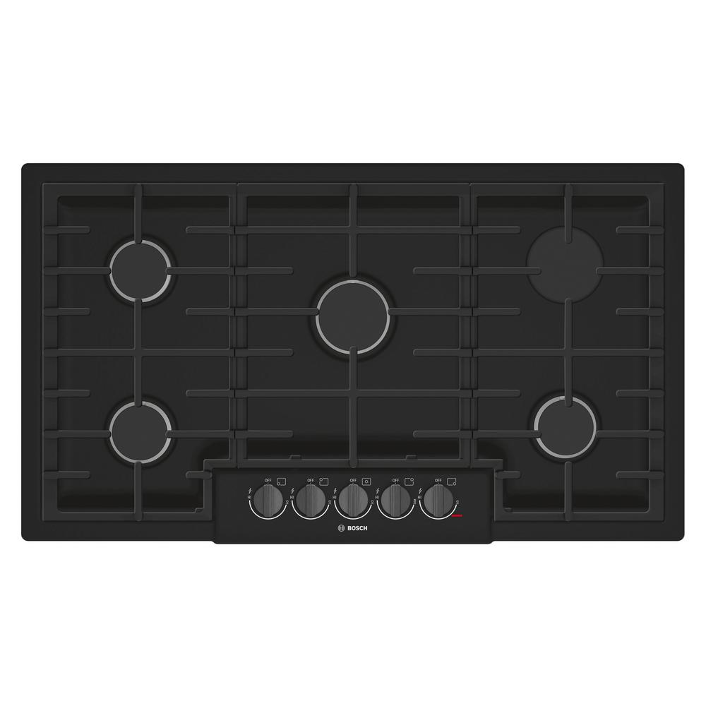 Bosch 800 Series 36 In Gas Cooktop Black Stainless Steel With 5 Burners Including