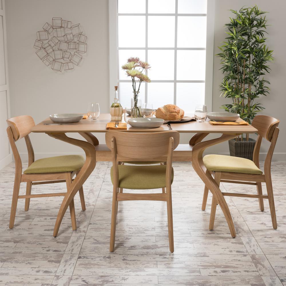 Lucious 5-Piece Green Tea and Natural Oak Dining Set