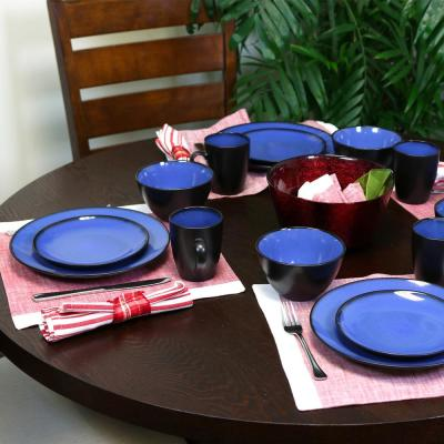Soho Lounge 16-Piece Contemporary Blue Ceramic Stone Dinnerware Set (Service for 4)