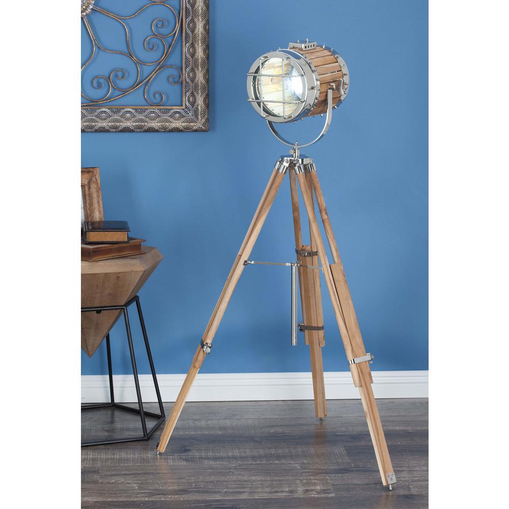 52 in. x 32 in. Nautical Decorative Aluminium and Teak Wood Spotlight