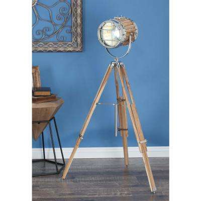 52 in. x 32 in. Nautical Decorative Aluminium and Teak Wood Spotlight