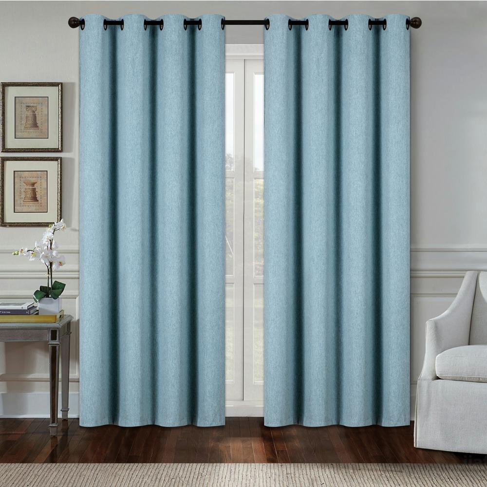 Aspen 84 in. Aqua Polyester Heavy Blackout Extra Wide Grommet Window