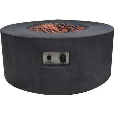 Venice 34 in. x 15 in. Round Concrete Natural Gas Fire Pit in Black with Canvas Cover and Lava Rock