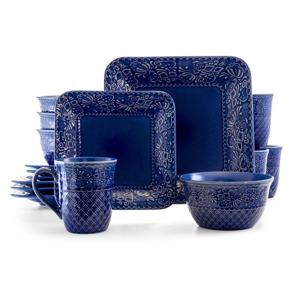 Indigo Lotus 16-Piece Traditional Blue Stoneware Dinnerware Set (Service for 4)