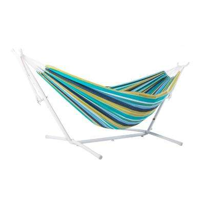 9 ft. Cotton Double Hammock with Stand in White and Cayo Reef