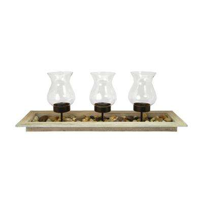 Kona 11 in. x 34 in. Birch Wood, Rustic metal and Clear glass Centerpiece Candle Holder