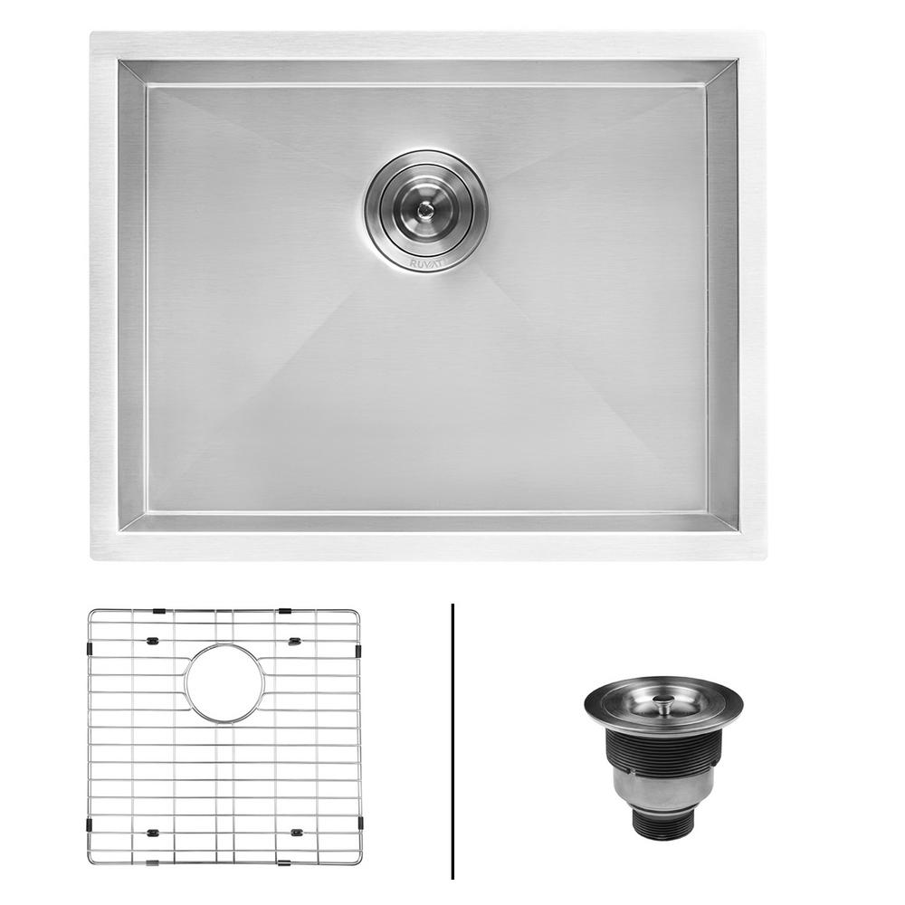 21 in. x 18 in. x 12 in. 16-Gauge Stainless Steel Undermount Deep-Laundry Utility Sink