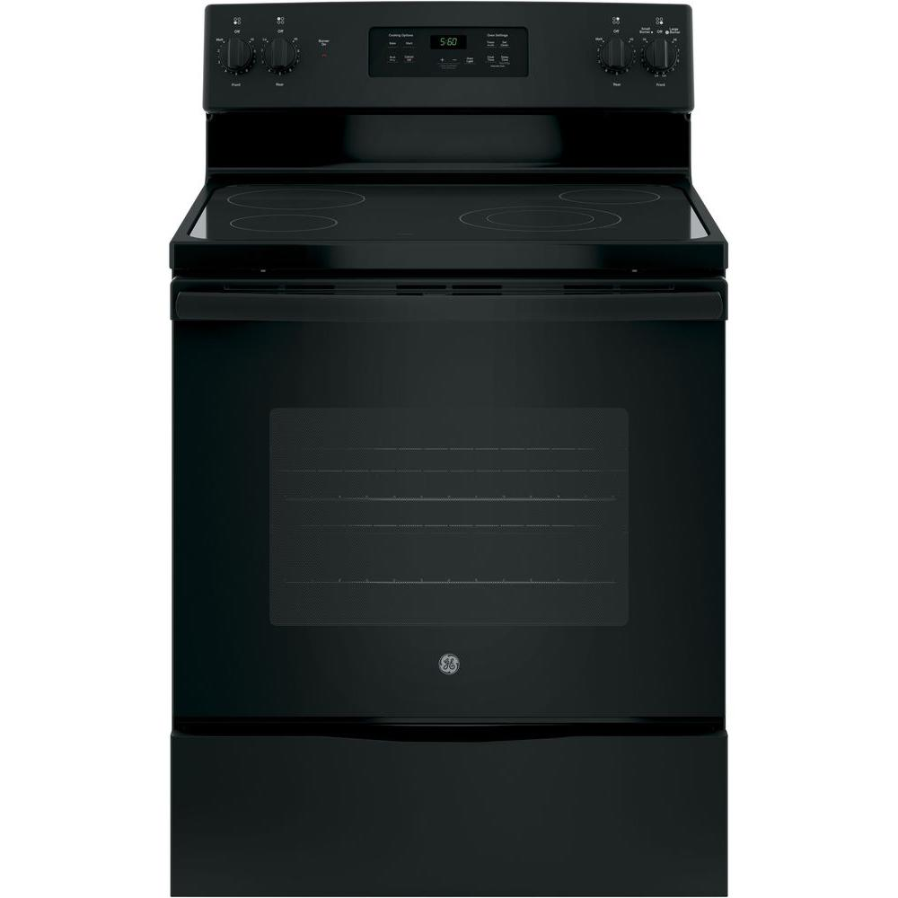 Ge 30 In 5 3 Cu Ft Electric Range Black