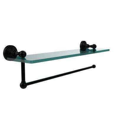 Waverly Place 16 in. L  x 5 in. H  x 5 in. W Paper Towel Holder with Clear Glass Shelf in Matte Black